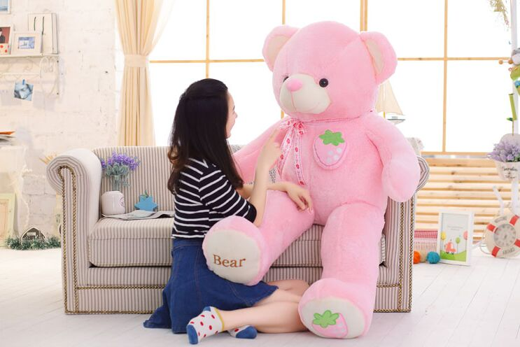 stuffed toy huge 160cm pink strawberry fruit teddy Bear plush toy bear doll hugging pillow Christmas gift,b0790 stuffed fillings toy huge 160cm hot pink apple fruit teddy bear plush toy bear doll soft throw pillow christmas gift b0797