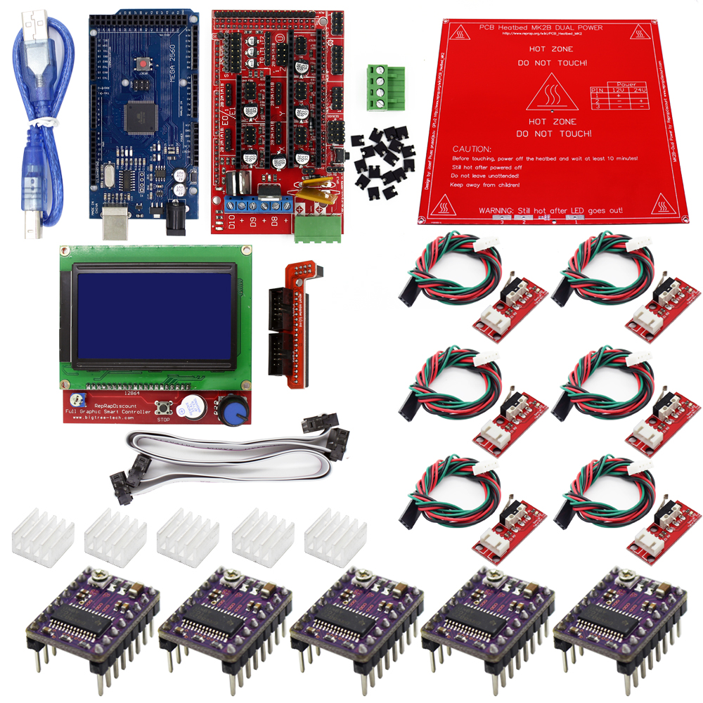 MK2B Heatbed mega 2560 3D Printer Kit Ramps 1.4 Controller Reprap Prusa i3
