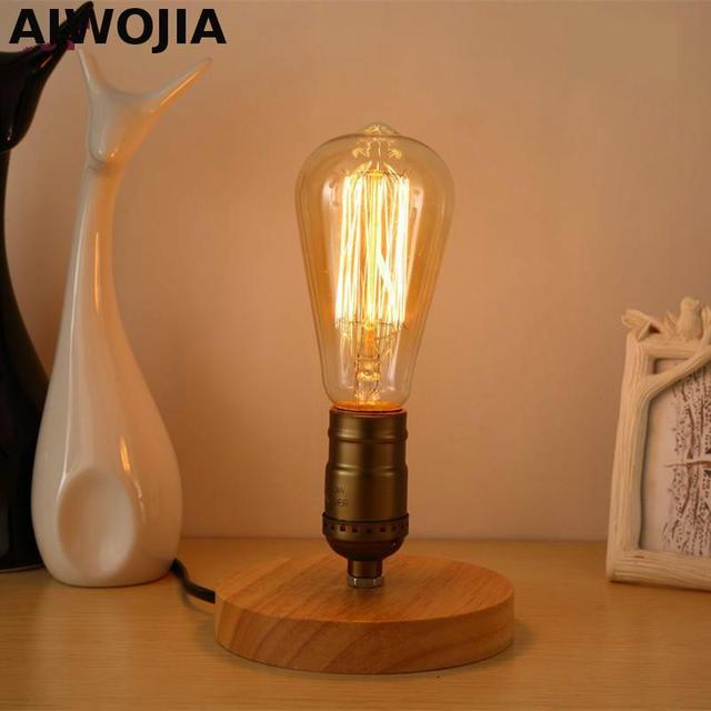 Modern Table Lamp Wooden Base Book Lights Desk Night Light E27 Holder Mini Retro Bedside