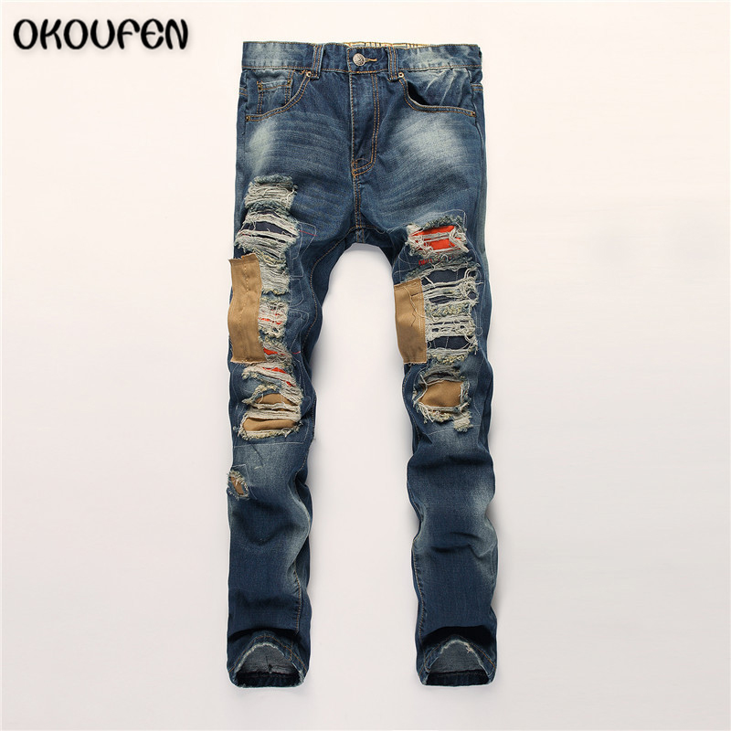 Hip Hop Mens Jeans Ripped Distressed Jeans Man Hole Patch Straight Slim Fashion Blue Rock Biker Jeans Male Pants 30-38 NZK37