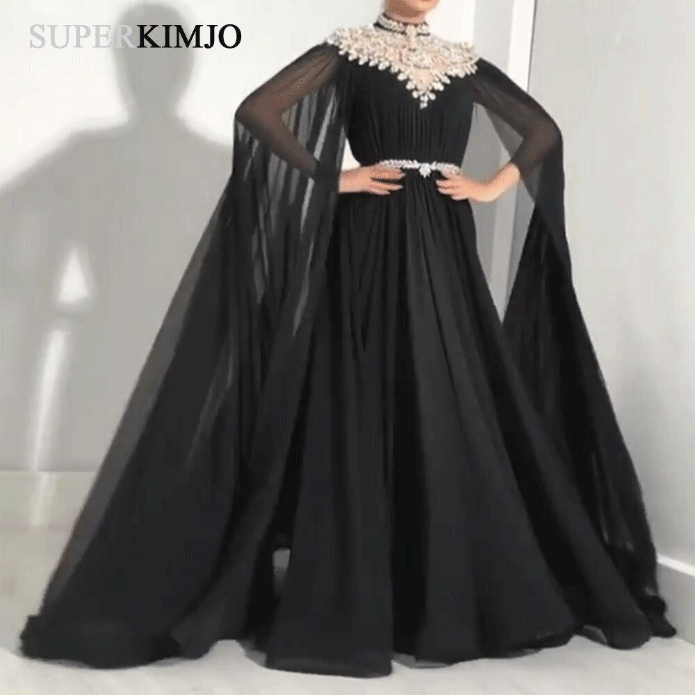 SuperKimJo High Neck Black   Prom     Dresses   Long Crystals Beads Dubai Caftan Elegant Chiffon   Prom   Gown Vestidos De Gala