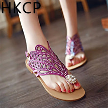 HKCP Fashion Clip-on sandals womens summer 2019 new casual flats fashion hollow beaded water drill C238