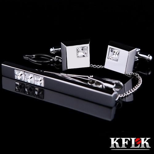 KFLK Cuff links Good High Quality silver necktie clip for tie pin for men White Crystal tie bars cufflinks tie clip set  Jewelry