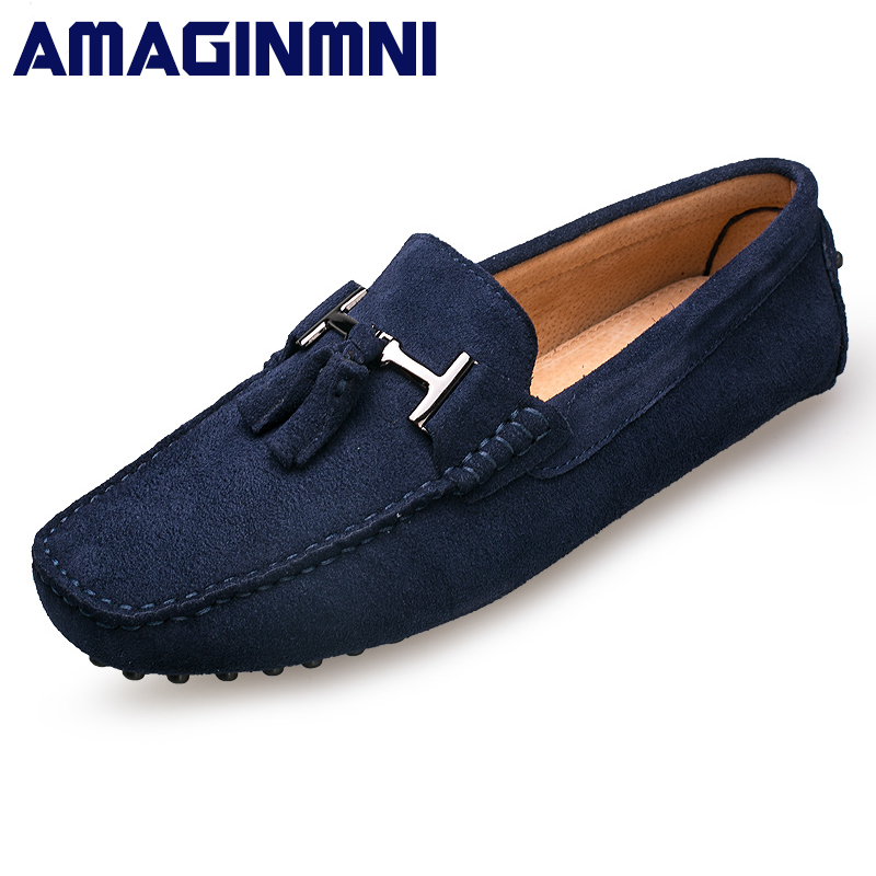 AMAGINMNI 2017 Men Casual shoes Cow Suede Leather Loafers Leather Driving Moccasins Slip on Shoes Men Comfortable and breathable new arrival high genuine leather comfortable casual shoes men cow suede loafers shoes soft breathable men flats driving shoes