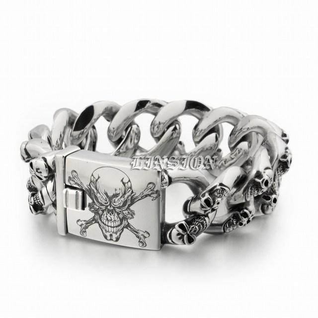 Deep Laser Engraved Pirate Skulls Huge Heavy 316l Stainless Steel Mens Boys Biker Rock Punk Bracelet