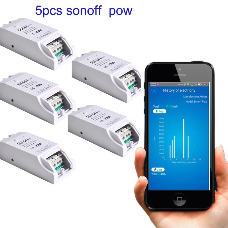 5pcs/lot Sonoff Pow Wireless WiFi Switch With timer Consumption Measurement For smart home automation 16A/3500W monitor power itead sonoff pow wireless intelligent automation module switch wifi smart home remote power consumption measurement 16a 3500w
