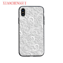 Putih Daun Bunga Tritone Mewah Kaca Tempered Lembut Silicone Ponsel Case Shell Cover untuk Apple Iphone 6 6 S 7 8 Plus X XR X Max(China)