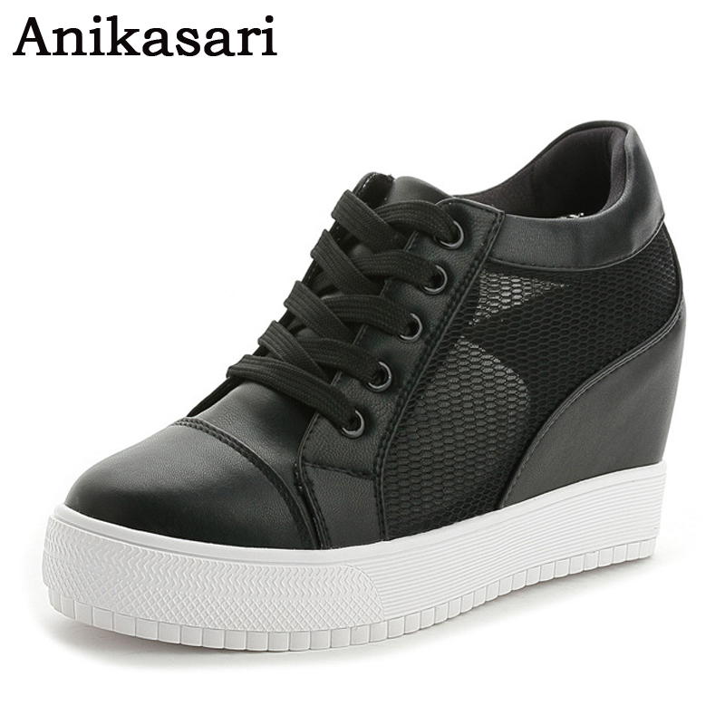 New Spring Women Casual Shoes Platform Wedges Height Increasing Shoes Black White Tenis Summer Style High Heels Mesh Trainers women sandals 2017 summer style shoes woman wedges height increasing fashion star gladiator platform female ladies shoes casual