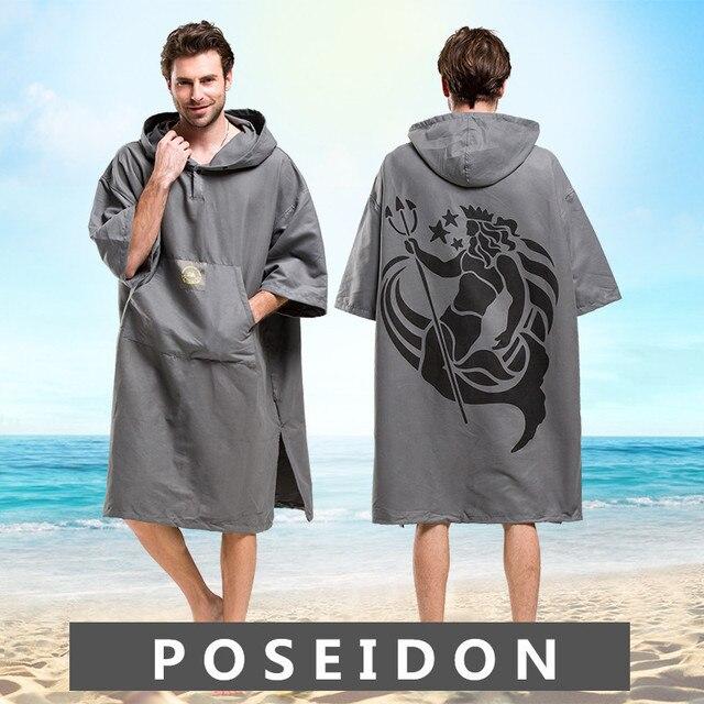 Poséidon serviette de bain à capuche, imprimée, pour adultes, peignoir à capuche, Poncho, femmes et hommes