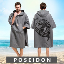 Poseidon Printing Changing Robe Bath Towel Outdoor Adult Hooded Beach Poncho Bathrobe Towels Women Man LST