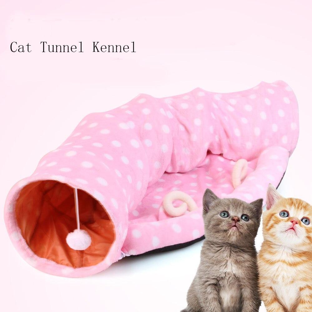 Jouet Tunnel chat-jouets Tube chat pliable-chenil Tunnel chat doux pour chat chiot lapin Pet lit amovible rose & jaune