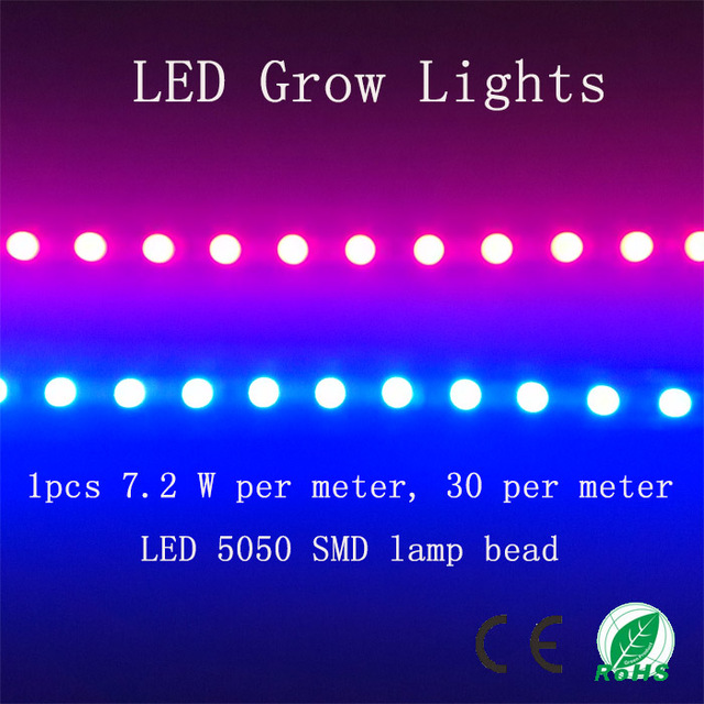 (1 m Red & 1 m Blue)/lot SMD 5050 LED Grow Lights Strip, 220V 28.8W/lot , For Seedlings Plants Growth In Grow Tent
