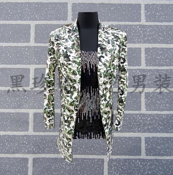 men suits designs camouflage medium long stage costumes for singers men sequin blazer dance clothes jacket style dress fashion