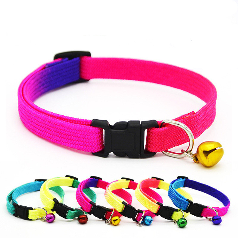 1pc New Adjustable Cat Collar With Bell Little Dog Collars Rainbow Colorful Cat Puppy Collars Safety Pet Supplies