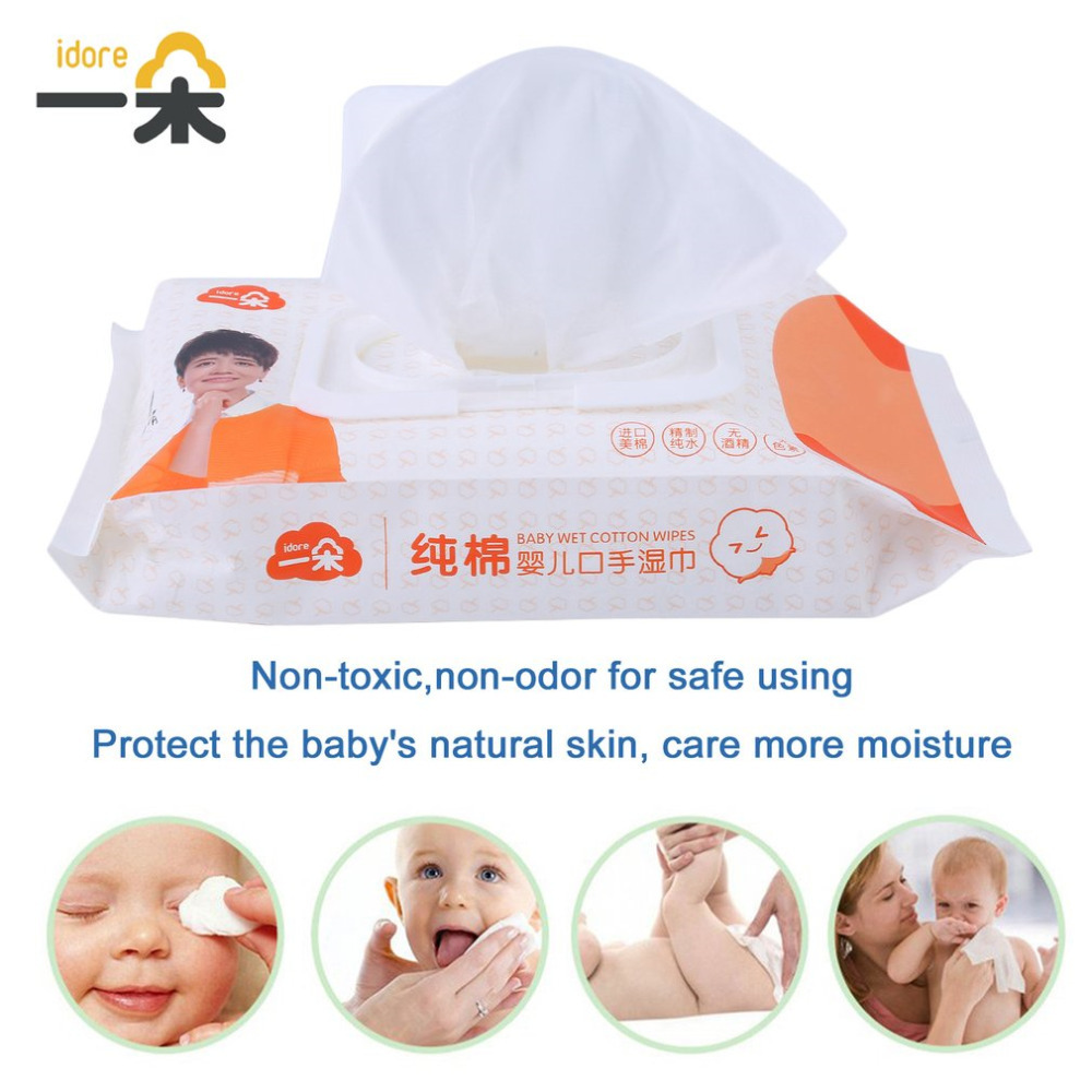 Idore Portable Baby Wet Paper Lid Wet Wipes Cover Tissue Bag Cotton Soft Disposable Tissue For Travel Baby Skin Clean Baby Care