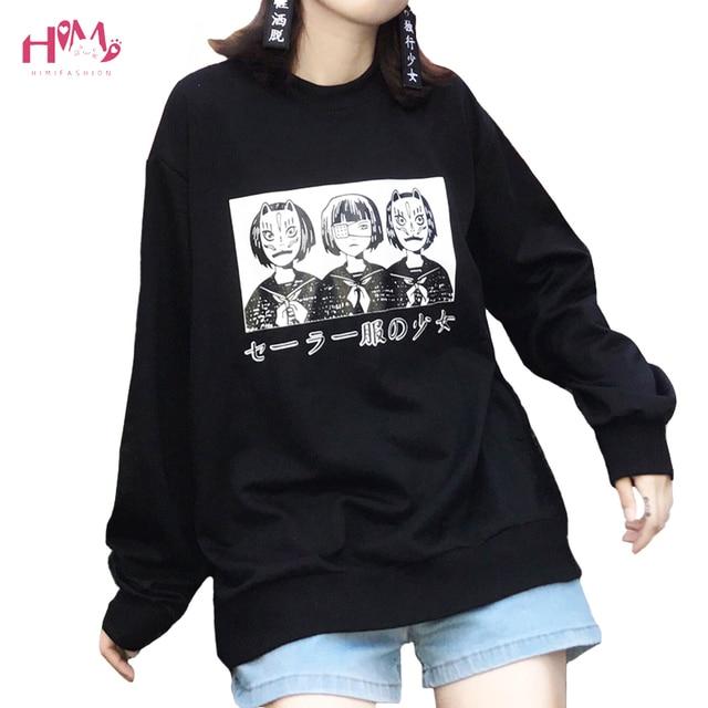 Korean Harajuku Lovely Anime Cartoon Hoodies Japanese Oversized Loose All-match Long Sleeve Female Street Fashion Sweatershirt