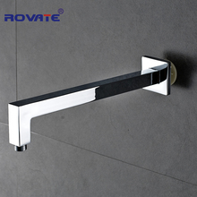 Фотография Wall Mounted Square Bathroom Shower Arm 40cm Shower Pipe Chrome Finished Square Brass Shower Head Holder