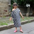 Spring Summer Family Matching Outfits Matching Mother Daughter Clothes Cotton Big Polka Dot Ankle-Length Dresses Girls Dress