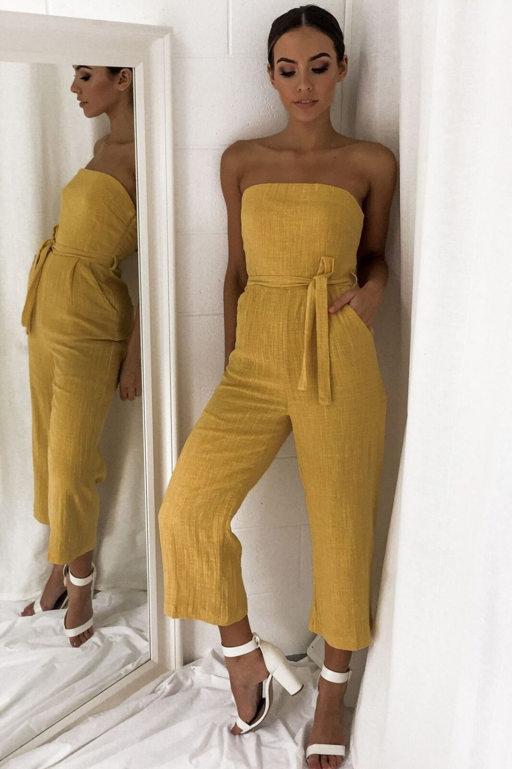 RQOKIA 2019 new fashion solid beach jumpsuit slash neck body suit sleeveless long pants girls beech suit