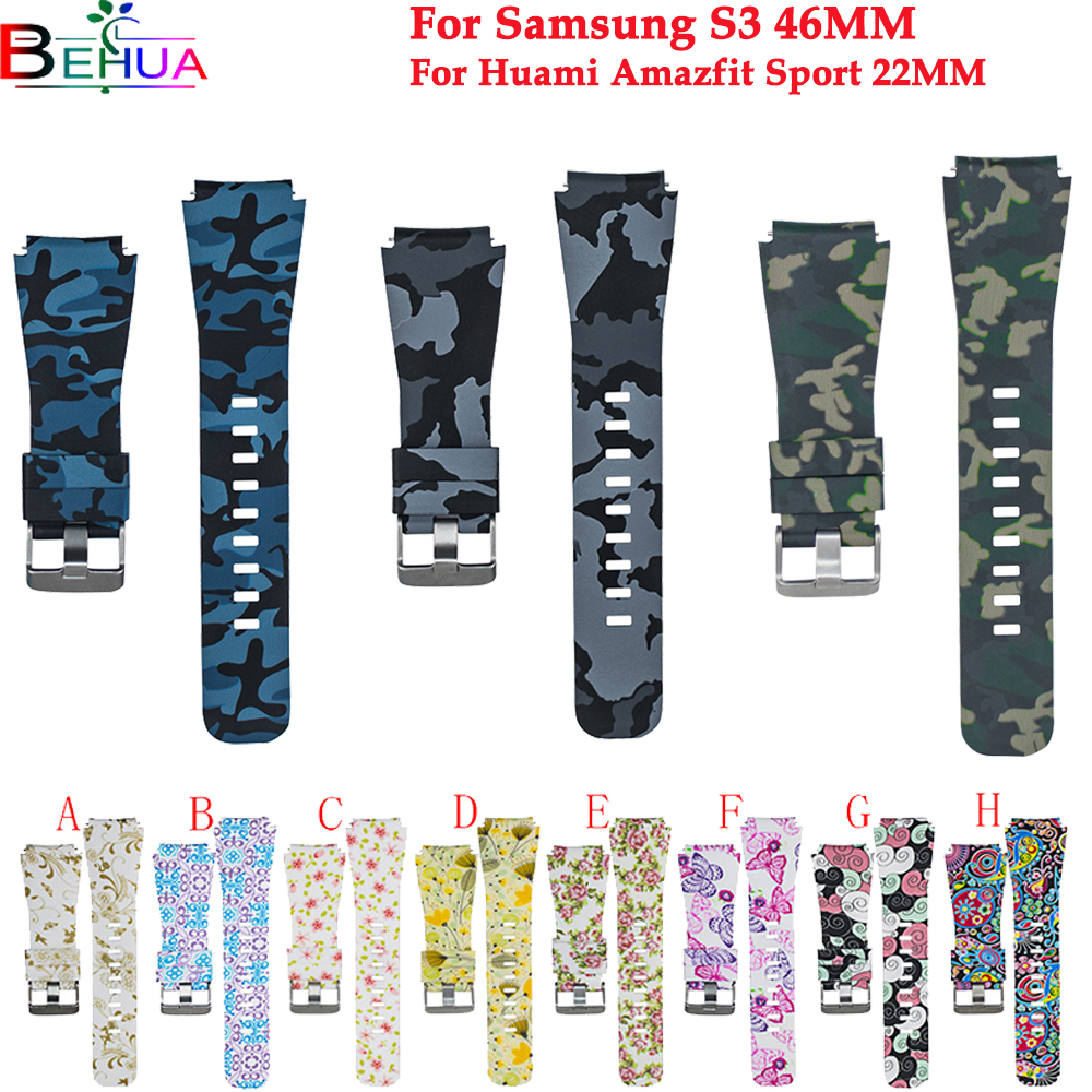 Gear S3/Galaxy S3 Watch Band 46mm For Samsung Classic Frontier Wristband Replacement Silicone Strap For Huami Amazfit Sport 22mm