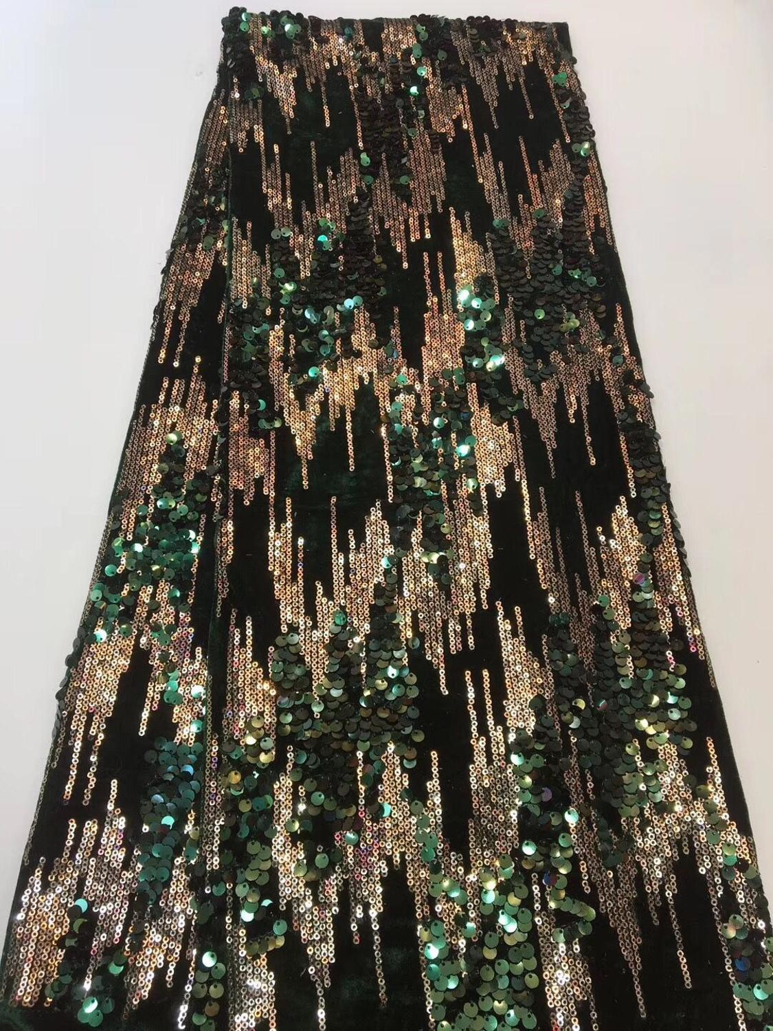 Sunny 2019 Nigeria Latest Design Velvet Lace Fabric 5 Yards/pcs High Quality African Lace With Color Sequins For Party Dress