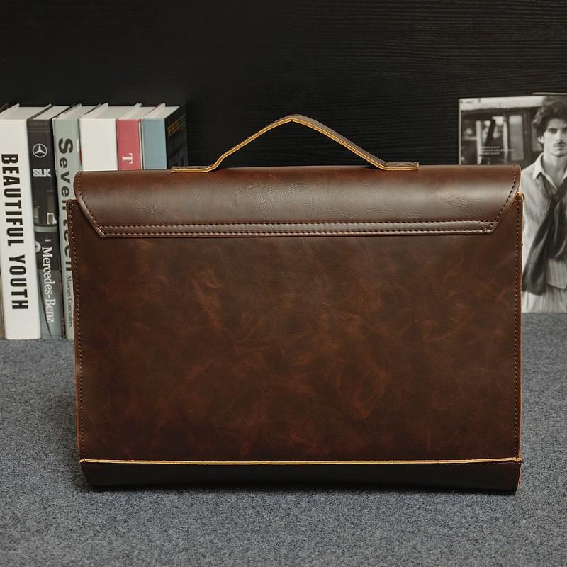 Vintage Men Business Real Genuine Leather Briefcase Travel Causal Shoulder Messenger Portfolio Laptop Bags Lawer Handbag Bolsa (4)