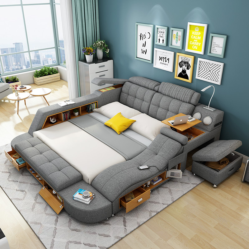 Multi Function Leather Sofa Bed With
