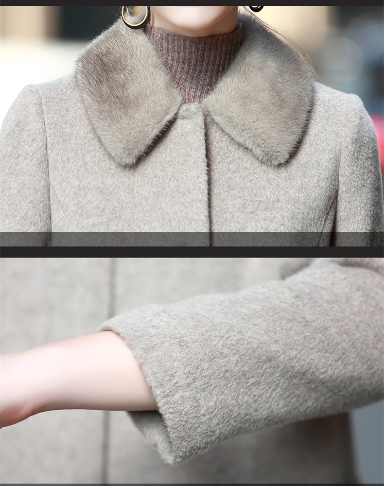 De Coffee Cachemire Hiver Z1163 2019 Alpaga Long Laine Naturel Light Réel Femmes Veste Femelle Automne Col Manteaux Vison Fourrure Mode Manteau RBSYqwp