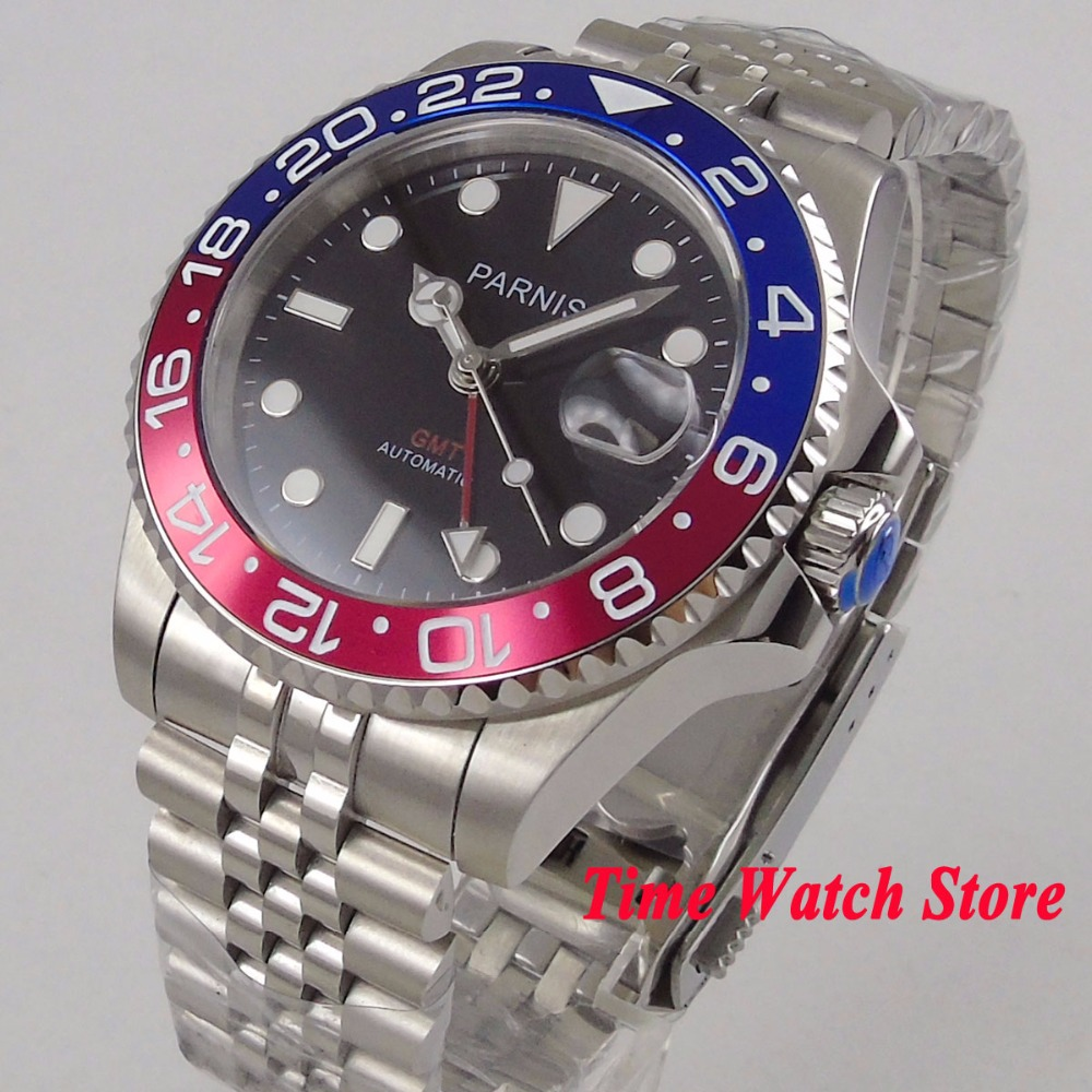 Luxury 40mm PARNIS mens watch RED GMT sapphire glass black dial luminous New bracelet automatic movement wrist watch men 1060Luxury 40mm PARNIS mens watch RED GMT sapphire glass black dial luminous New bracelet automatic movement wrist watch men 1060