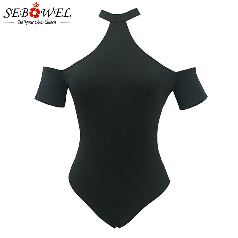 SEBOWEL Solid Black Woman Summer Short Sleeve Bodysuit 2020 Female Hollow Out Body Top Clothes for Ladies Cold Shoulder Bodysuit