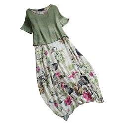 Damska na co dzień w stylu Vintage, lato suknie drukowania Patchwork O-Neck dwa kawałki Plus rozmiar kieszenie Maxi lniana Sukienka Sukienka #7 4
