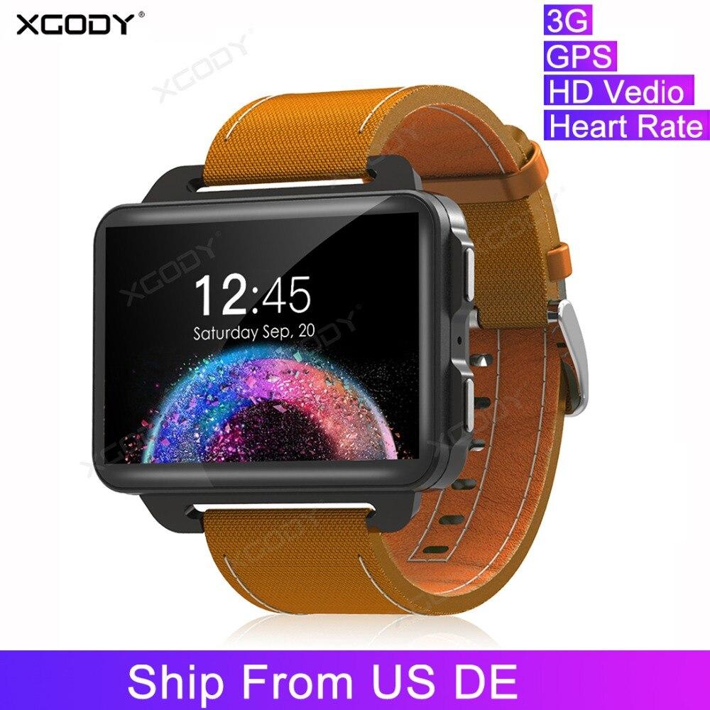 XGODY DM99 3G HD Vedio appel montre intelligente 1200 mAh hommes Super écran GPS Wifi Bluetooth Fitness Bracelet Pedometor horloge intelligente