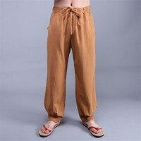 Pamuk Ve Keten Pantolon Erkekler Yaz Uzun Moda Rahat Çin Tarzı Gevşek İpli Ordu Pantolon Erkekler Ince Yaz Giyim A3434