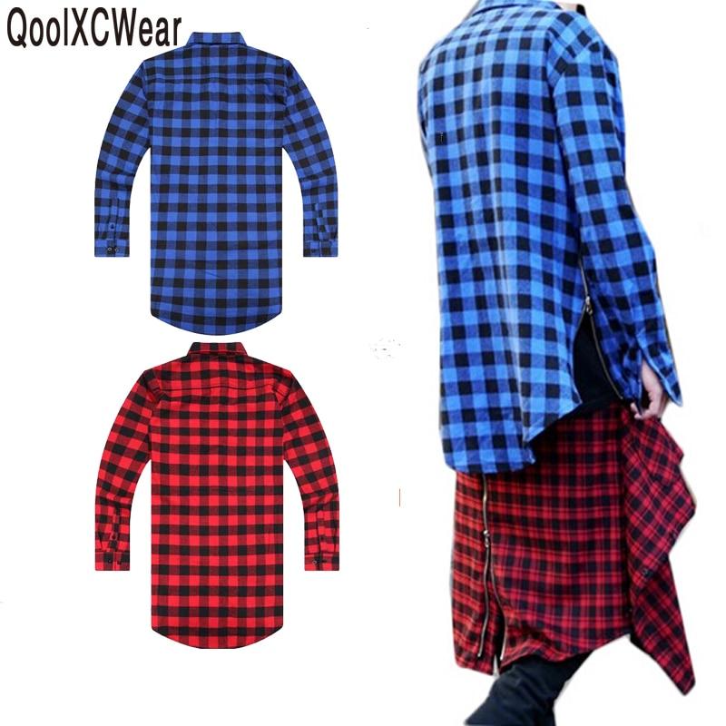 QoolXCWear Extended Long High Low Side Zipper Unisex Man Swag Shirt T shirt T Shirt Hip Hop Men Streetwear Hem Plaid Blue Red