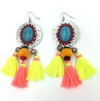 2016 New Long Fringe Tassel Earrings Bohemia Boho Pink Earrings Turquoise Chandelier Gypsy Antique Earrings Ethnic