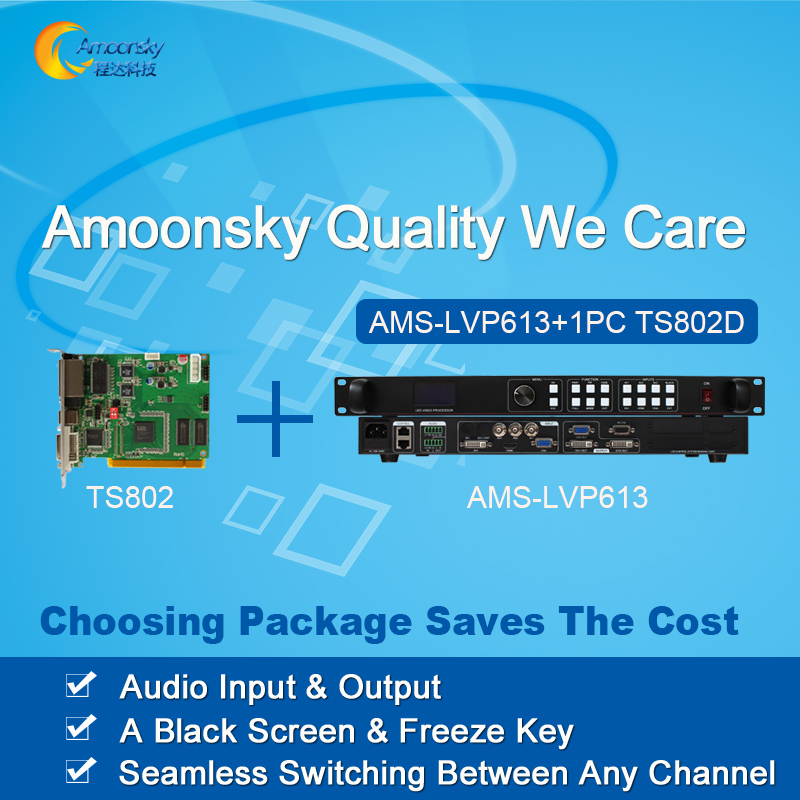 led video processor led display controller AMS LVP613 with linsn one piece led sending card ts802d best price
