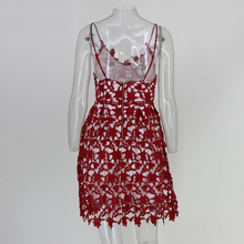 Fuedage White Lace Dress Women Red Backless Sexy Elegant Party Dresses Solid V Neck Spaghetti Strap Summer Dress Vestidos