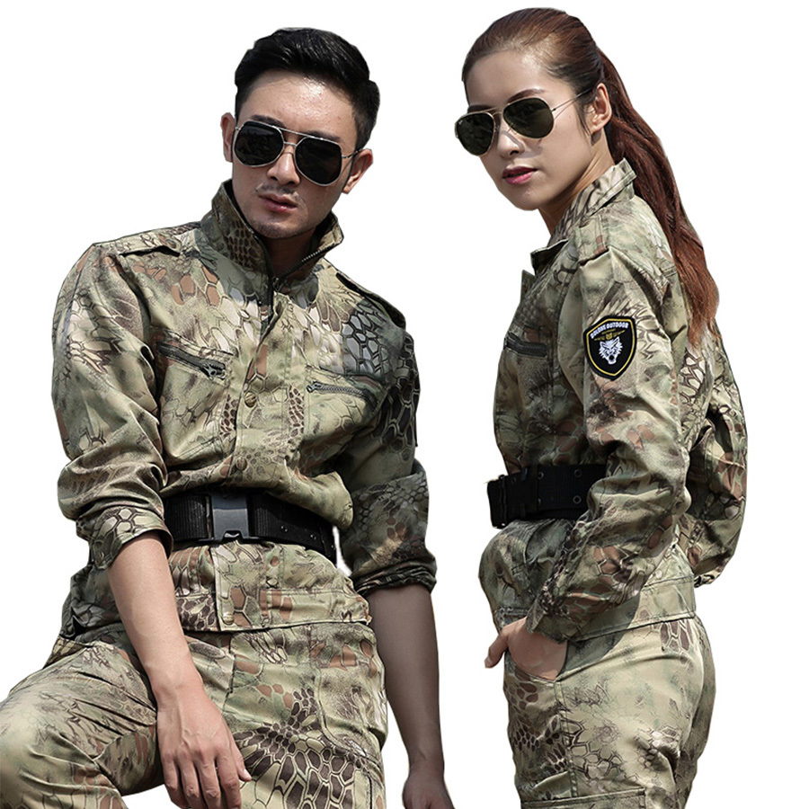 Mens Vêtements de Chasse Jaune Python Camouflage Costume Militaire de L'armée Tactique Vestes + Pantalon Uniformes Multicam Combat Costumes Ghillie