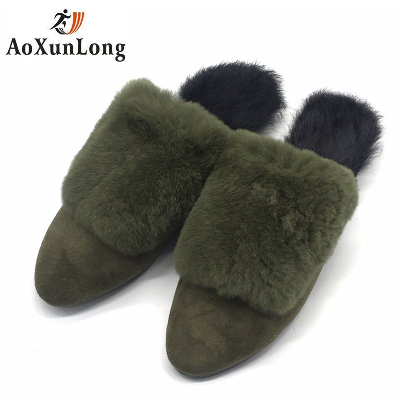 2017 New Autumn Winter Women Slippers Genuine Leather High Quality Rabbit Hair Fashion Slippers Flat Home Slider Warm Fluff 8 40 2017 new autumn winter women slippers genuine leather high quality rabbit hair fashion slippers flat home slider warm fluff 8 40