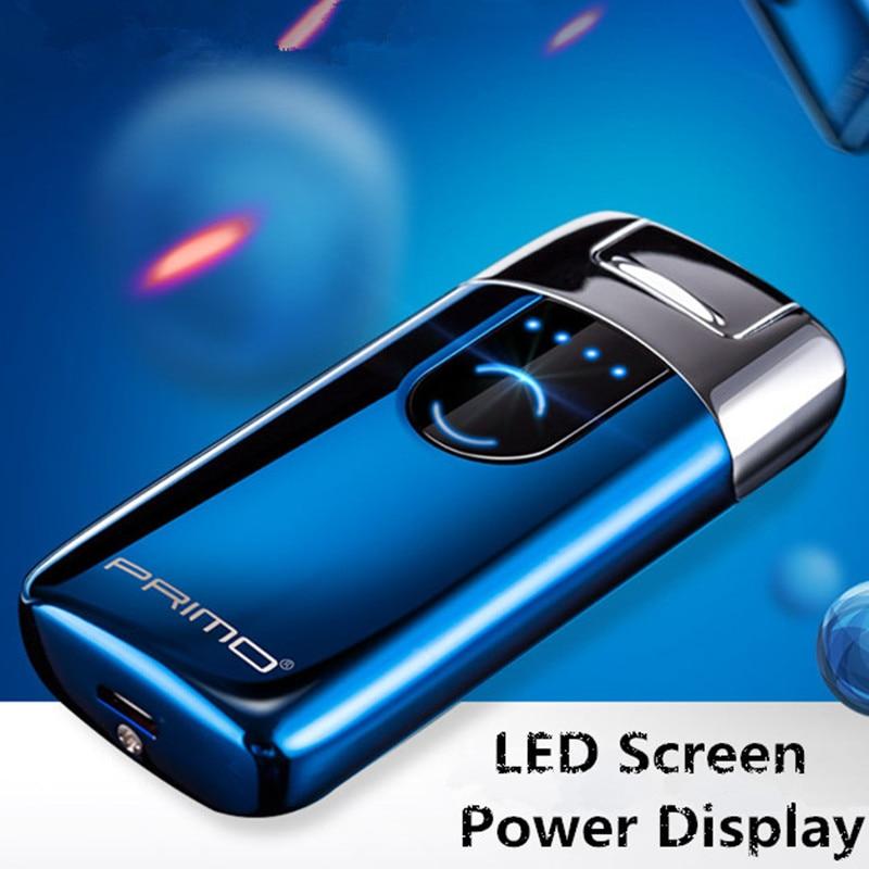 Primo Neue Dual Arc USB Feuerzeug Wiederaufladbare Elektronische Leichter Led-bildschirm Zigarette Plasma Induktion Palse Puls Donner Leichter