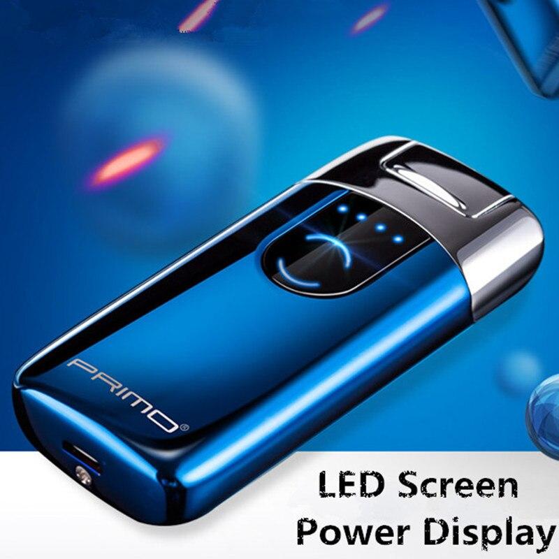 Primo новый двойной дуги USB Зажигалка перезаряжаемая электронная зажигалсветодио дный светодиодный экран прикуриватель плазменный индукционный Palse Pulse электронная зажигалка купить на AliExpress