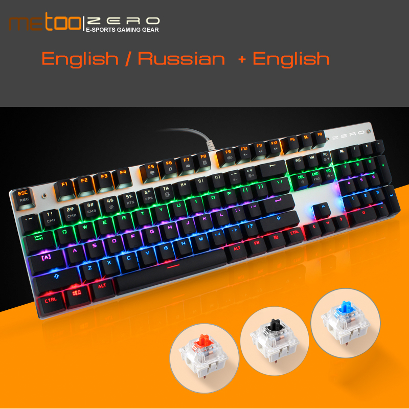 Metoo Edition Backlit LED Gaming Mechanical Keyboard 87/104 Keys Blue/Black/Red Switch Genuine Wired Keyboards Russian/English