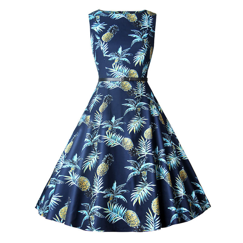 Women Summer Dress Ladies Pineapple Print Retro Vintage Dresses 50s 60s Casual Party Robe Rockabilly Dress Plus Size Vestidos UK in Dresses from Women 39 s Clothing