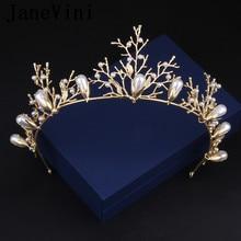 JaneVini Luxury Pearl Hairband Gold Leaf Bridal Tiara Hair Crown Wedding Headpiece Princess Crowns Women Party Prom Head Jewelry