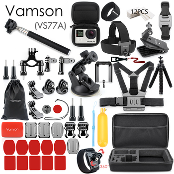Vamson for Gopro Accessories Set for go pro hero 8 7 6 5 4 kit 3 way selfie stick for Eken h8r / for xiaomi for yi EVA case VS77 7