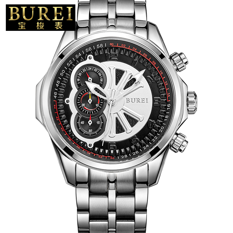 BUREI Raciing Stports Quartz Watch Men Japanese Movement Full Stainless Steel Gold Hands Chronograph Clock Relogio Masculino relojes full stainless steel men s sprot watch black and white face vx42 movement