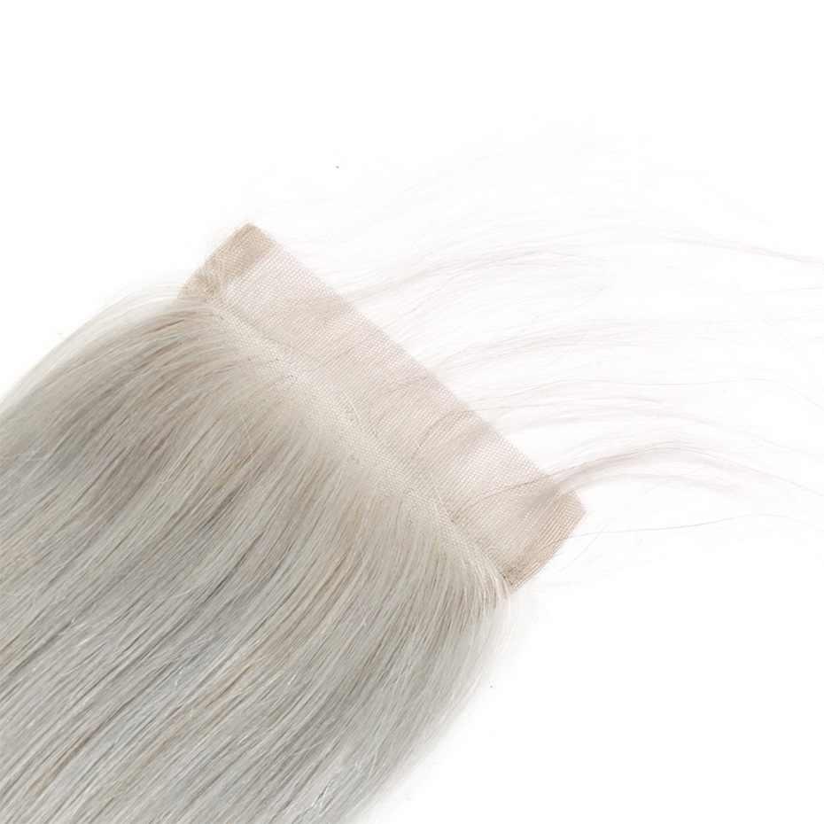 Stema 4x4 синтетическое закрытие шнурка бразильский прямой серый цвет 8-20 дюймов Remy человеческие волосы закрытие с детскими волосами расширение Бесплатная часть