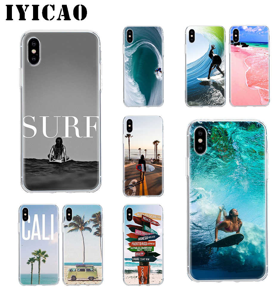 IYICAO Beach Surf Travel Hard Case สำหรับ iPhone 4 4s 5s Se 6 7 7plus 8 8Plus X XS MAX XR 6s Plus 11 pro max