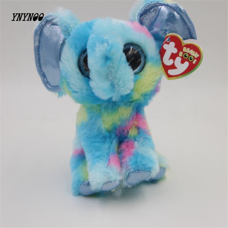 YNYNOO Ty Beanie Boos Original Big Eyes Plush Toy Doll Child Birthday Gray Elephant TY Baby 15cm plush toy Girls Christmas gifts ynynoo hot ty beanie boos big eyes small unicorn plush toy doll kawaii stuffed animals collection lovely children s gifts lc0067