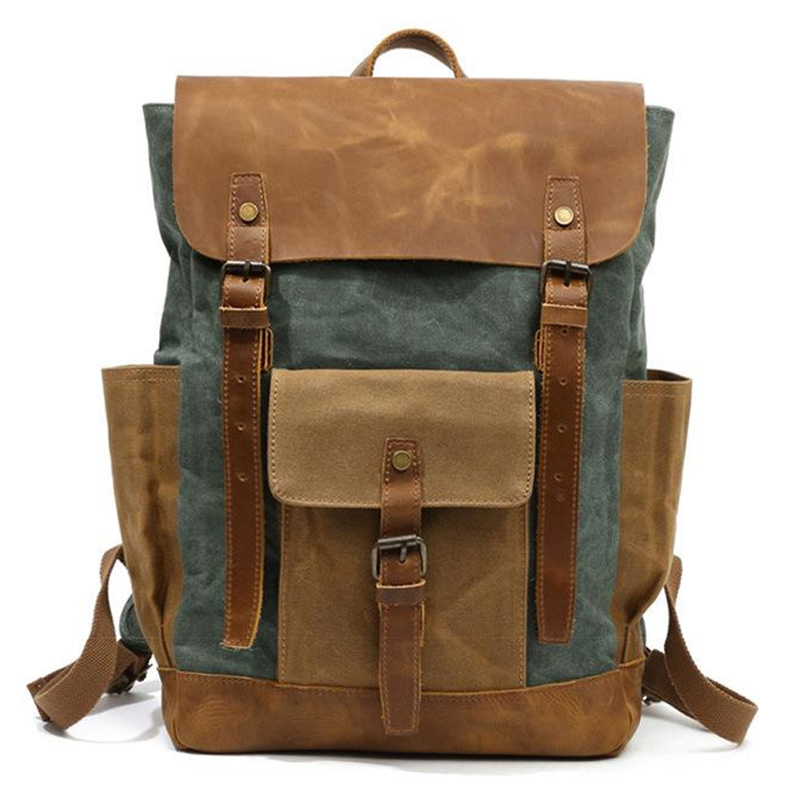 Oil Wax Canvas Leather <font><b>Backpacks</b></font> <font><b>Unisex</b></font> Waterproof Rucksacks 15 Inch Laptops Daypacks Large Capacity Vintage Mochilas Travel B image
